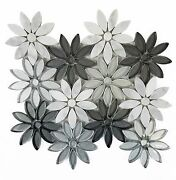 Calacatta White/gray 12x12 Glass And Marble Stone Flower Mosaic Wall/floor Tile