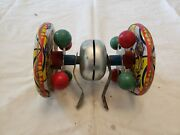 Antique Vintage Tin Circus Push Toy Bell Sound - Missing Stick