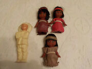 Vtg Celluloid Indian Chief Native American Hard Plastic Doll And 3 Moodie Dolls