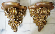 Pair Antique Wood Carved Gilded Sconce Wall Shelf Brackets 18thc Antique