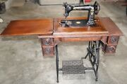 Antique 1880's Wheeler And Wilson Treadle Sewing Machine And Cabinet