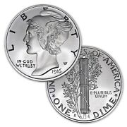 1916-d Mercury Dime Tribute Andndash 2 Troy Ounce Silver Round Andndash 50mm