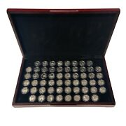 1999-2009 S Silver State Quarters Proof - Complete 56 Coins - Wooden Display
