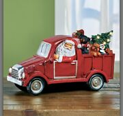 13 3/4l Led Lighted Red Pickup Truck With Santa Claus Col M23