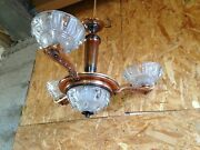 Antique Chandelier Art Deco Brass And Lampshade Day Glass Dlg Ezan Vintage 1950