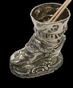 Scottish Silver Boot Tooth Pick Holder 1890