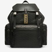 Bally Menandrsquos Crew Logo Embossed Animal Print Straps Black Leather Backpack New