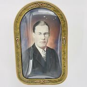 Antique Oval Convex Bubble Glass Gold Wood Frame With Stern Man Portrait 22 X 14