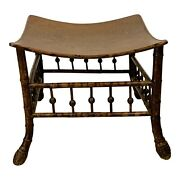 19th Century Egyptian Revival Bamboo Thebes Stool-1890 England