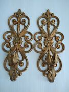 Set Of 2 Painted Gold Iron Scrolled Wall Sconces Candle Holders Heavy Vintage