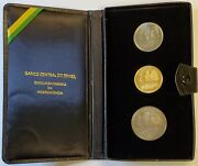1972 Brazil Gold And Silver 3-coin Set 150th Anniversary Of Independence Bu In Ogp