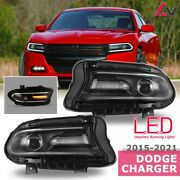 15-21 For Dodge Charger Black Replacement Projector Drl Headlamps Pair Set