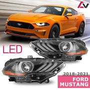 2018-2021 For Ford Mustang Black Replacement Projector Headlights Drl Headlamps