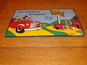 Vintage 1940 Sunoco Mickey Mouse And Goofy 16.5 Porcelain Metal Gasoline Oil Sign