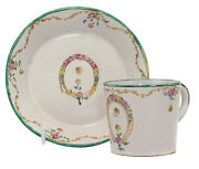 French Faience Cup And Saucer Verve Perin C. 1775