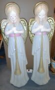 """2 Vintage Tpi Angel Choir W/horn Nativity Lit Blow Mold Christmas Holiday 34"""""""