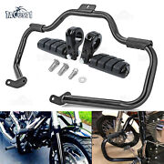 Mustache Engine Guard Crash Bar+1.25and039and039 Foot Pegs Clamps For Harley Softail 00-17