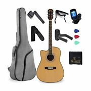 Left Handed Full Size Acoustic Guitar Spruce Cutaway For Beginners Students K...