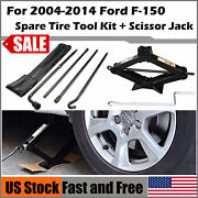 For Ford F150 04-14 Spare Tire Tool Kit Lug Wrench With Scissor Jack 2 Ton