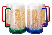 4 Pack Freezer Beer Mugs Double Wall Gel Handle Set Iced Cold Drinking Beers Cup