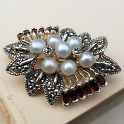 925 Sterling Silver And Gemstone Brooch With Marcasite, Garnet And Freshwater Pearl