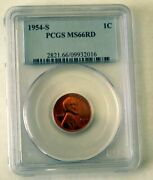 1954-s Lincoln Cent Pcgs Ms 66 Rd