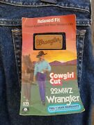 Vintage Wrangler Cowgirl Cut Mwz Denim Jeans Size 22 Tall Rare Stone Washed Nos