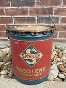 Vintage Skelly Tagolene Motor Oil 5 Gallon Metal Oil Can - Empty - Nice Graphics