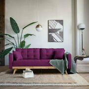 Mid Century Modern Sofa Tufted Couch With Wood Frame And Legs, Purple Fuchsia