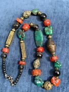 Antique Tibetan Turquoise Mediterranean Coral And Brass Ornate Beaded Necklace