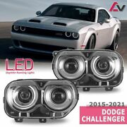 15-21 For Dodge Challenger Black Replacement Projector Headlights Drl Headlamps