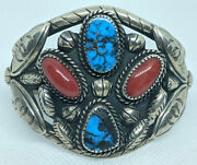 Old Navajo Silver Bracelet Heavy Ornate With Bisbee Turquoise And Coral