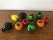 Vintage Lot Of10 Murano Style Glass Decorative Fruits And Vegetables Nice
