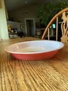 Vintage 1950's Pyrex Glass Flamingo Pink Outside Round Pie Pan / Plate As Is