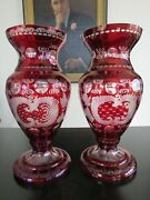 Egermann Pair Of Bohemian Crystal Cut To Clear Red Glass Sparrow Vases, 12.25