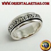 Ring Band Silver 925 Swivel Stress With Patterns Floral