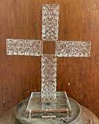 Oleg Cassini Crystal Cut Glass Cross Bless This Home Paper Weight Figurine