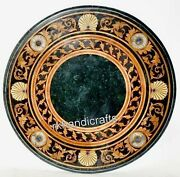 Vintage Art And Crafts Round Marble Coffee Table Green Center Table Top For Home
