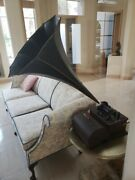 Edison Wind-up Cylinder Phonograph With Horn Rare Antique Vintage Local Pickup