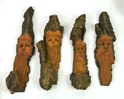 Folk Art Carvings Into Drift Wood Of The Spirit Of The Forest Group Of 4