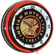 Indian Motorcycle Since 1901 Sign Red Double Neon Clock Man Cave Decor 19