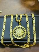 22k Yellow Real Saudi Gold 916 Womenandrsquos Round Set Necklace 20andrdquo Long 13.8g 5mm