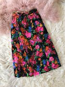 Vintage 60's 70's Groovy Retro Floral Skirt Black Mid Length Women's Small