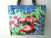 Anuschka Flamingo Fever Hand Painted Leather Shoulder Tote Purse - Nwt