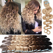 Super Blue Tape Wavy Hair Tape In Remy Human Hair Extensions Long Skin Weft 100g