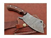 9 Long Hand Forged Twist Pattern Damascus Steel Butcher Meat Cleaver Natura...