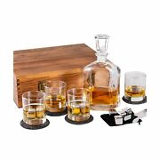 Whiskey Decanter Set In Wooden Gift Box - Includes Decanter 4 Scotch Glasses...