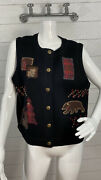 Woolrich Sweater Vest Cardigan Appliques Cabin Bear Woods Up North Womens Size S