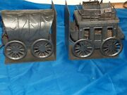 Vintage Bookends Made From Copper Wild West Wagon And Stagecoach Wells Fargo