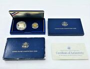 1987-s U.s. Constitution 2 Coin Proof Set 5 Gold Coin And 1 Dollar Silver Coin